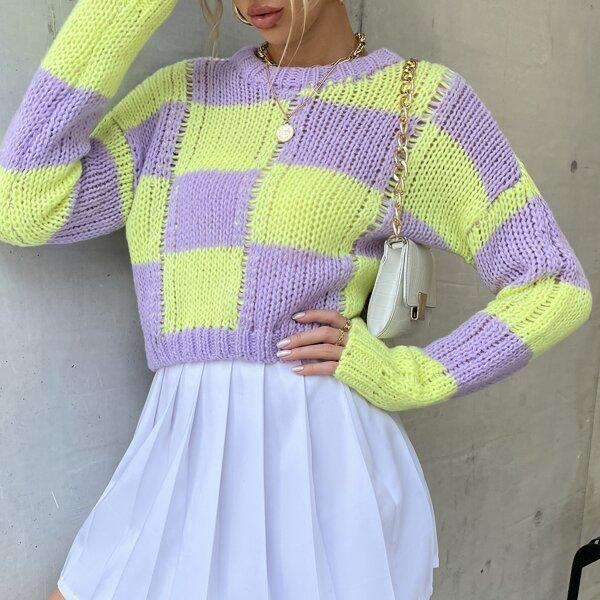 Checker Pattern Round Neck Sweater, Multicolor