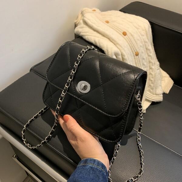 Quilted Twist Lock Chain Crossbody Bag, Black
