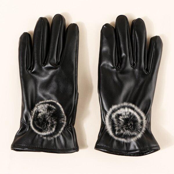 1pair PU Leather Gloves, Black