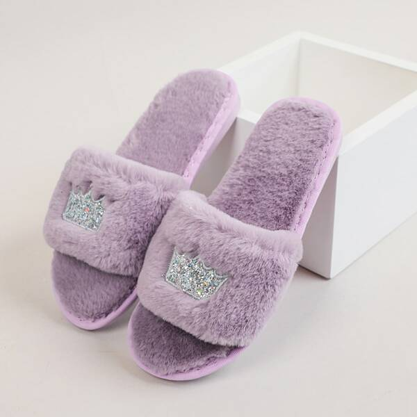 Crown Graphic Fuzzy Slippers, Purple