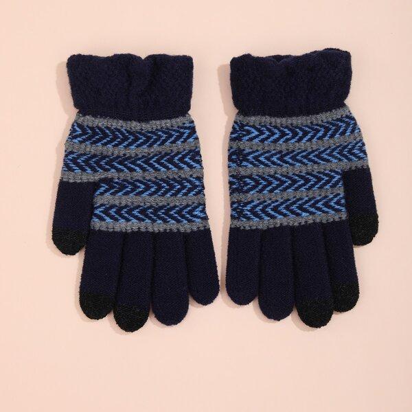 Chevron Pattern Gloves, Navy blue