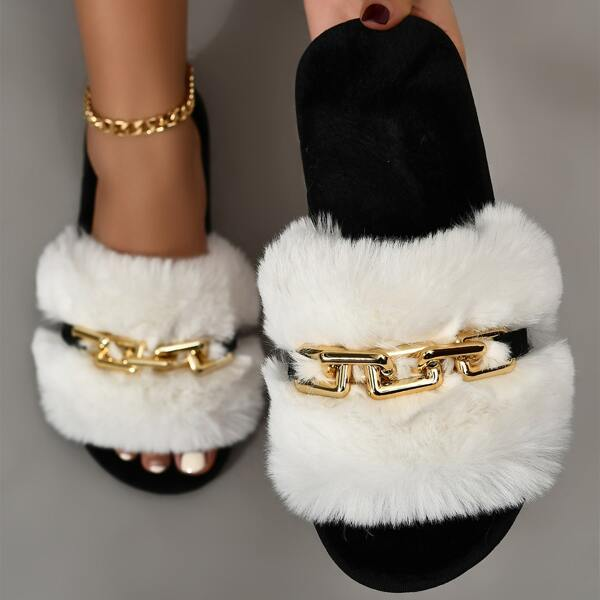 Chain Decor Fuzzy Slippers, White