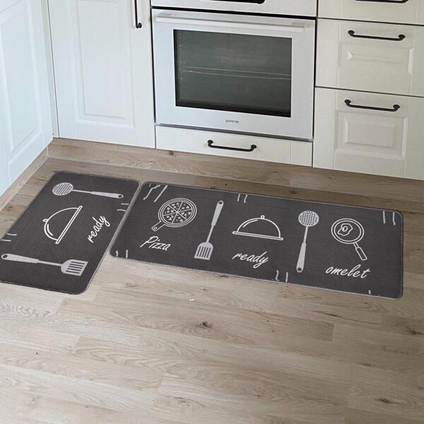 1pc Kitchenware Print Kitchen Rug, Dark grey