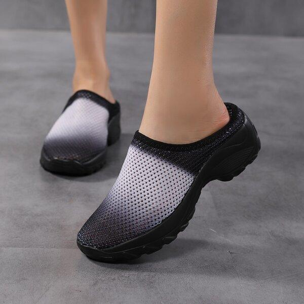 Colorblock Slip On Knit Slipper Sneakers, Black