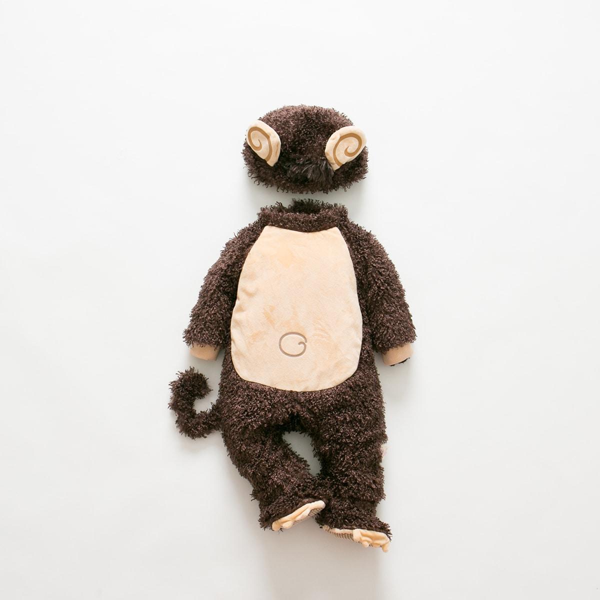 для детей с ушками 3D с капюшоном с ногами из плюша Костюм Комбинезон