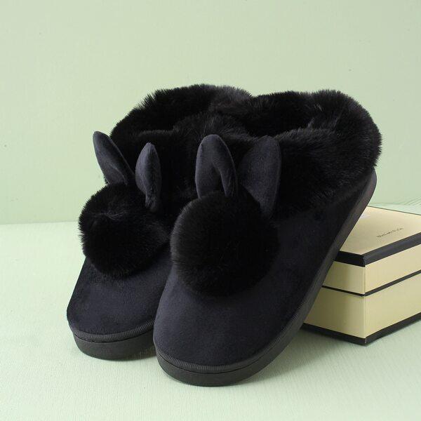 Pom-pom Decor Fuzzy Novelty Slippers, Black