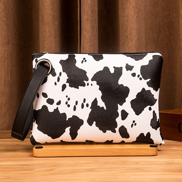 Cow Pattern Square Bag, Black and white