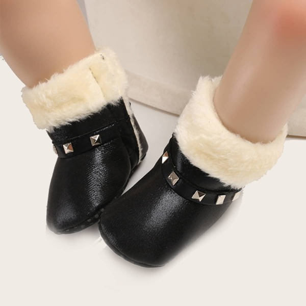 Baby Spiked Decor Fluffy Boots, Black
