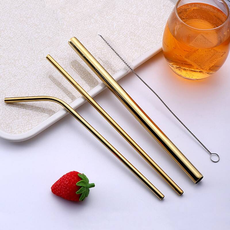 4pcs Solid Color Straw Set, Gold