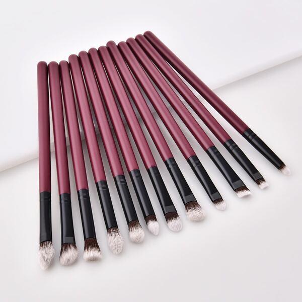 12pcs Eye Makeup Brush Set, Burgundy