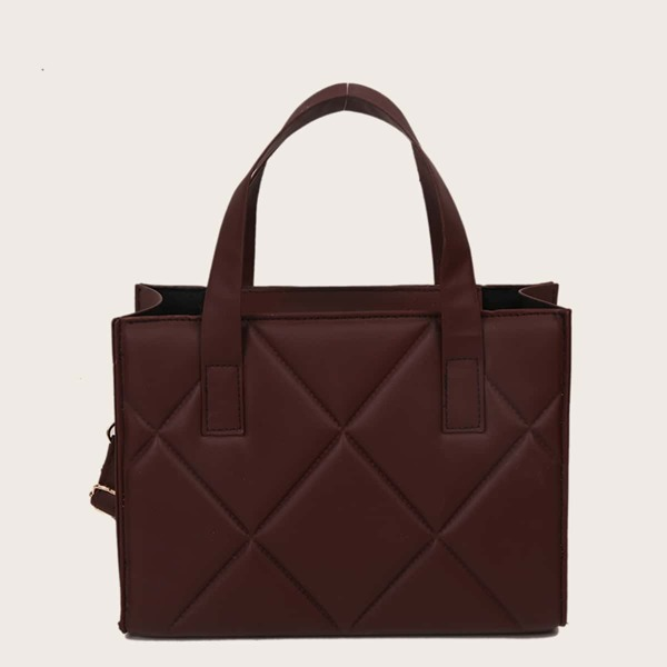 Minimalist Quilted Square Bag, Brown
