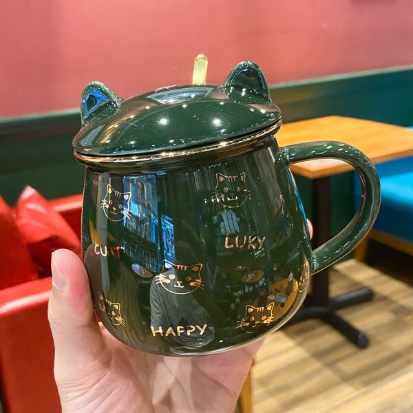1pc Cartoon Cat Mug With Lid & 1pc Spoon, Dark green