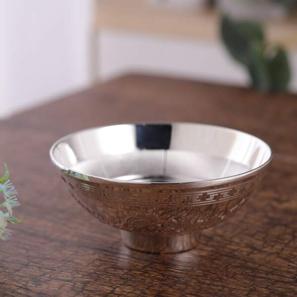 1pc Fish Pattern Bowl, Silver