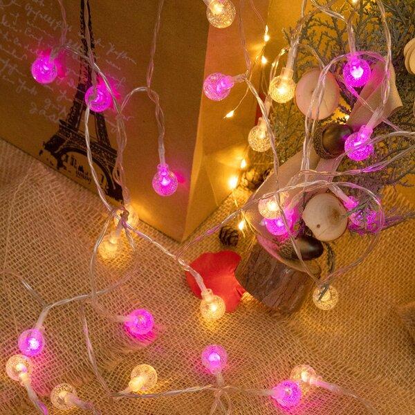 1pc 3m String Light With 20pcs Bulb, Multicolor