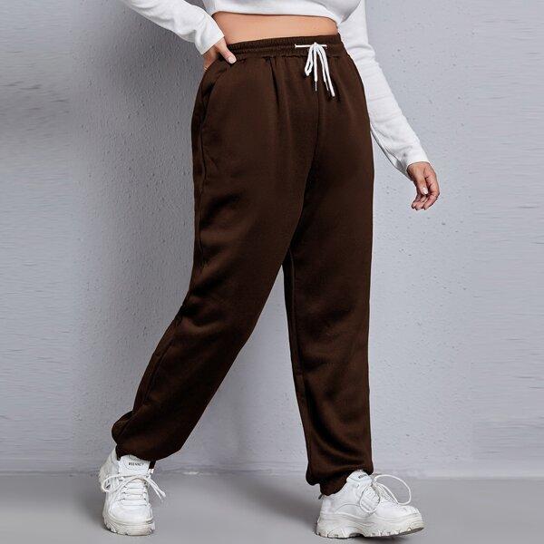 Plus Slant Pocket Drawstring Waist Sweatpants, Chocolate brown
