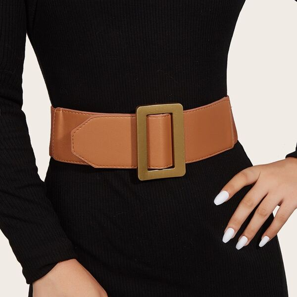 Geometric Decor Corset Belt, Camel