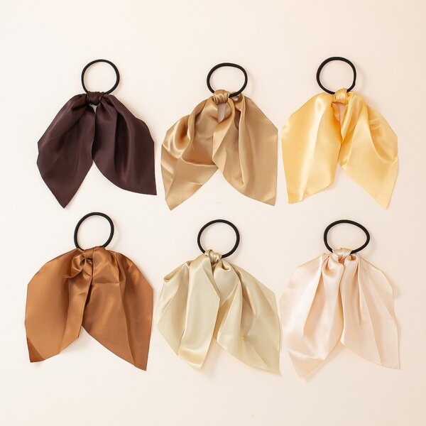 6pcs Minimalist Scarf Hair Tie, Multicolor