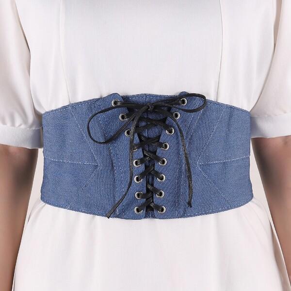 Bow Decor Corset Belt, Blue