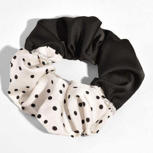 Polka Dot Print Scrunchie, Black and white