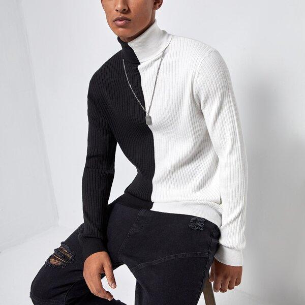 Men Turtleneck Two Tone Rib-knit Sweater, Black and white