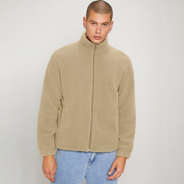 Men Slant Pocket Zip Up Drop Shoulder Teddy Jacket, Khaki