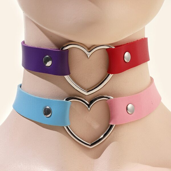 2pcs Heart Decor Choker, Multicolor