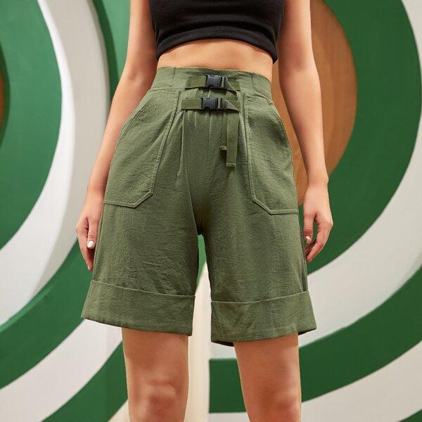 Buckled Front Slant Pocket Roll Up Hem Shorts, Army green