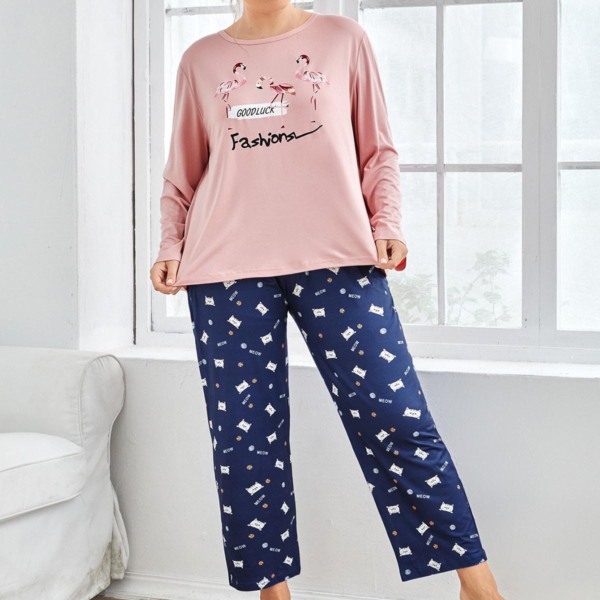 Ensemble de pyjama t-shirt à imprimé lettre et flamant & Pantalon dessin animé