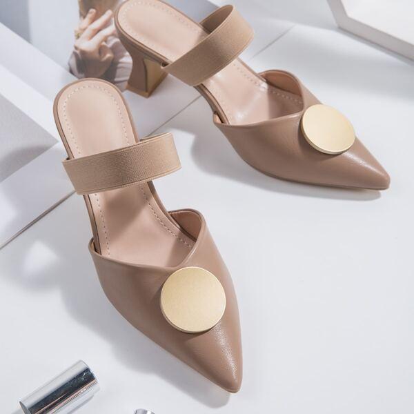 Minimalist Sculptural Heeled Point Toe Mule Sandals, Khaki