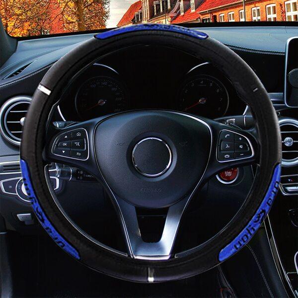 Reflective Dragon Print Car Steering Wheel Cover, Blue