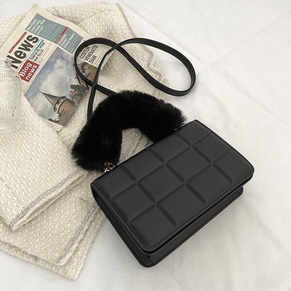 Minimalist Fluffy Handle Satchel Bag, Black
