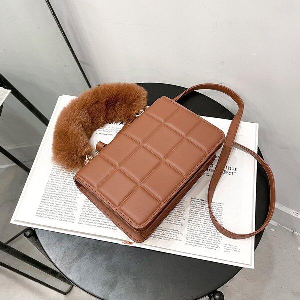 Minimalist Fluffy Handle Satchel Bag, Brown