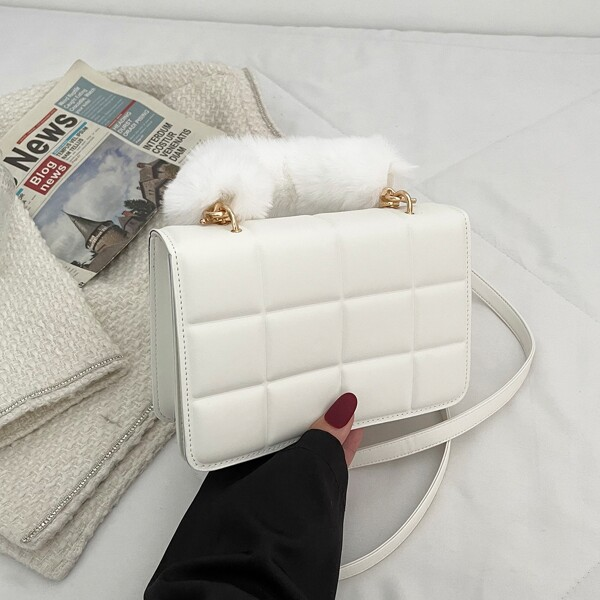 Minimalist Fluffy Handle Satchel Bag, White