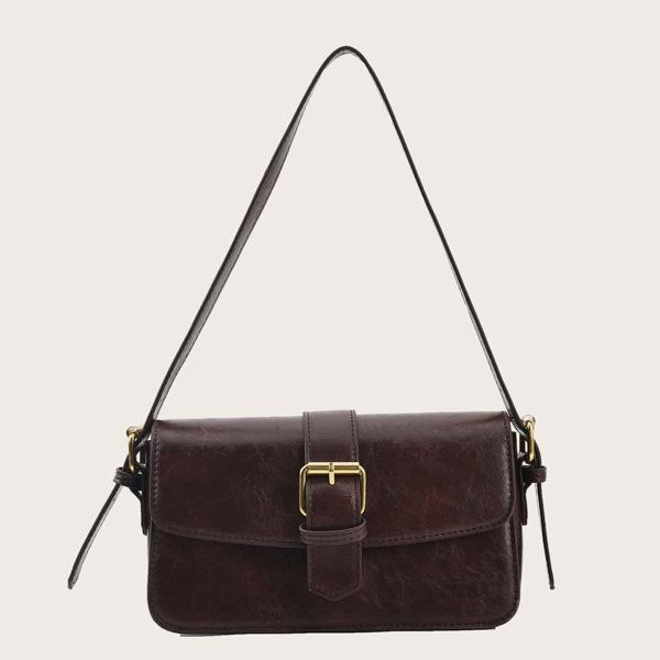 Minimalist Buckle Decor Flap Baguette Bag, Coffee brown