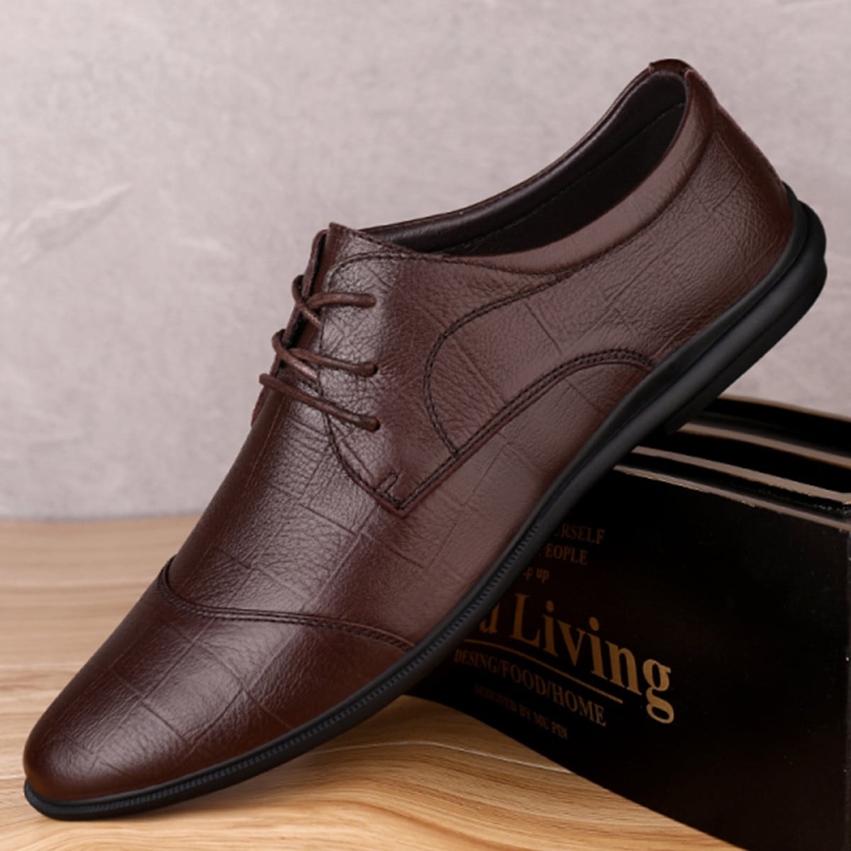 Men Geo Graphic Lace-up Oxfords