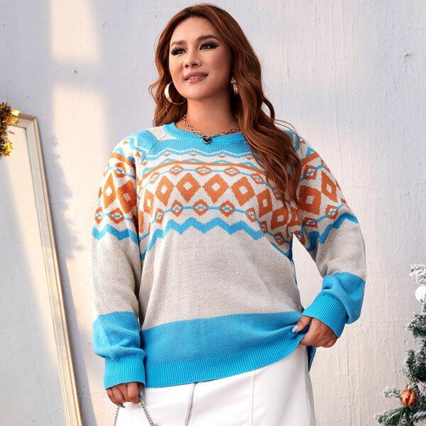 Plus Geo Pattern Colorblock Raglan Sleeve Sweater, Multicolor