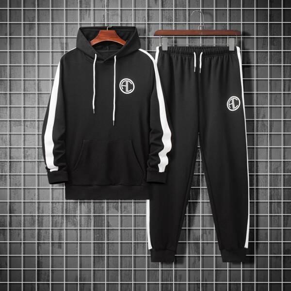 Men Letter Graphic Contrast Side Seam Drawstring Hoodie & Sweatpants, Black