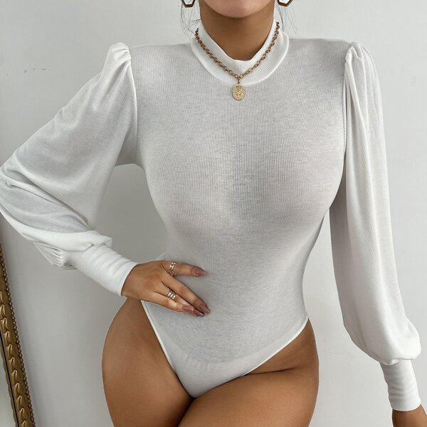 Solid Rib Knit Stand Collar Puff Sleeve Bodysuit, White