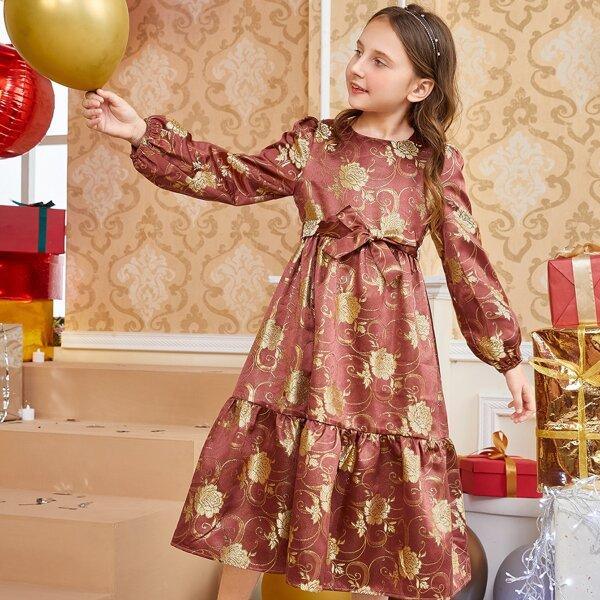 Girls 1pc Gold Floral Print Lantern Sleeve Ruffle Hem Belted Glitter Dress, Multicolor