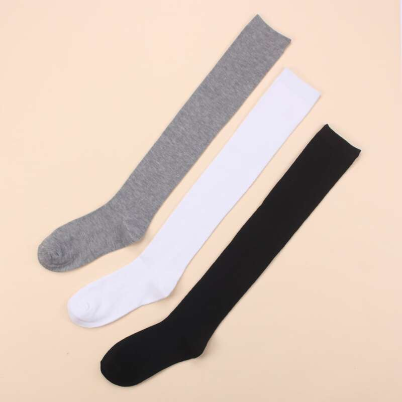 3pairs Solid Over The Calf Socks, Multicolor