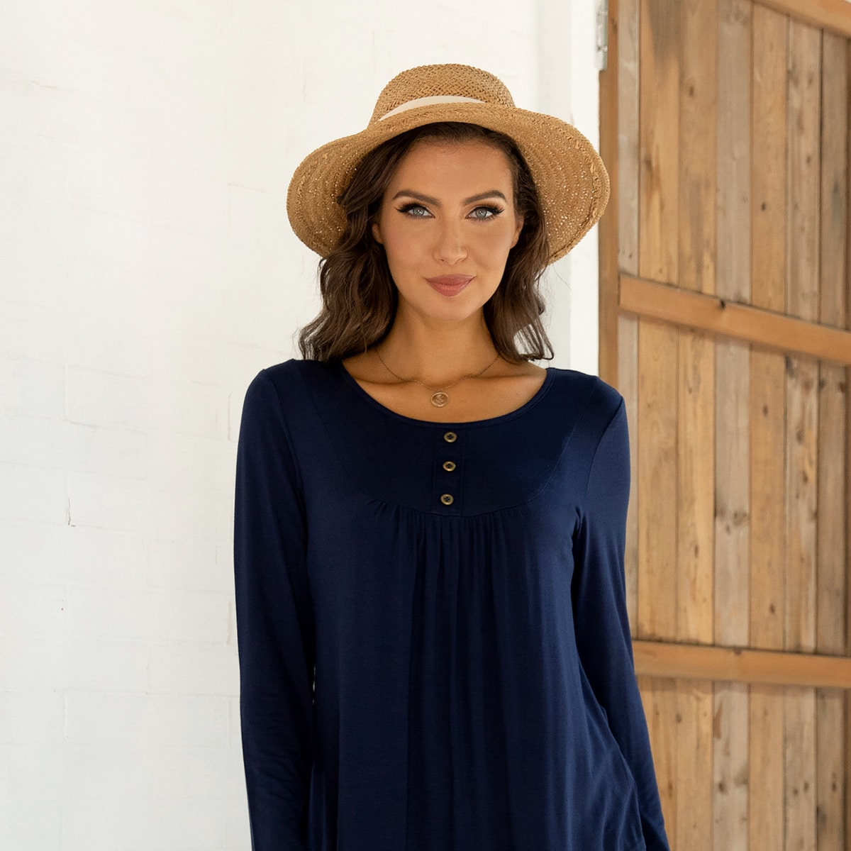 Button Through Ruched Tee