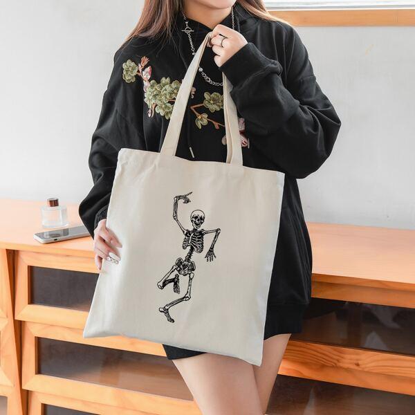Skeleton Graphic Shopper Bag, Beige