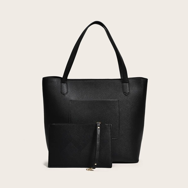 Minimalist Shoulder Tote Bag With Inner Pouch, Black