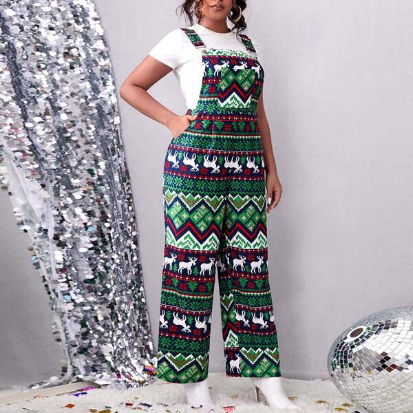 Plus Christmas Elk & Geo Print Patched Pocket Wide Leg Overalls Without Tee, Multicolor