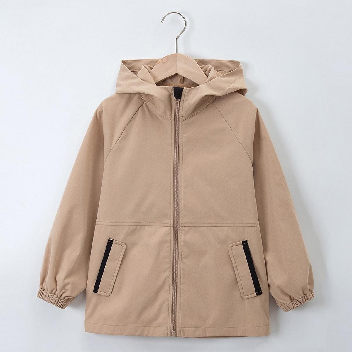 Girls Zip Up Slant Pocket Raglan Sleeve Hooded Coat