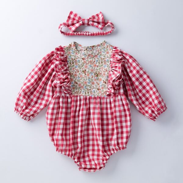 Baby Floral And Gingham Print Ruffle Trim Bodysuit & Headband, Multicolor