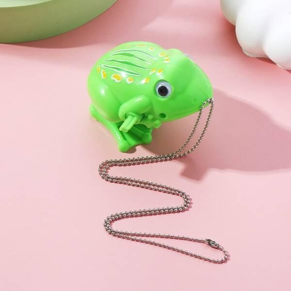 Cartoon Frog Pendant Necklace, Green