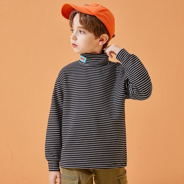 Boys Striped Patched Detail High Neck Drop Shoulder Tee, Black and white