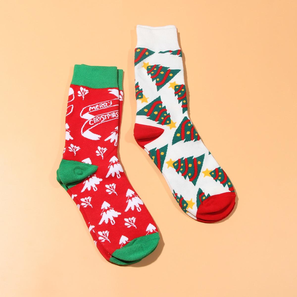 2 paires Chaussettes à imprimé arbre de Noël