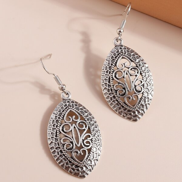 Hollow Out Drop Earrings, Antique silver